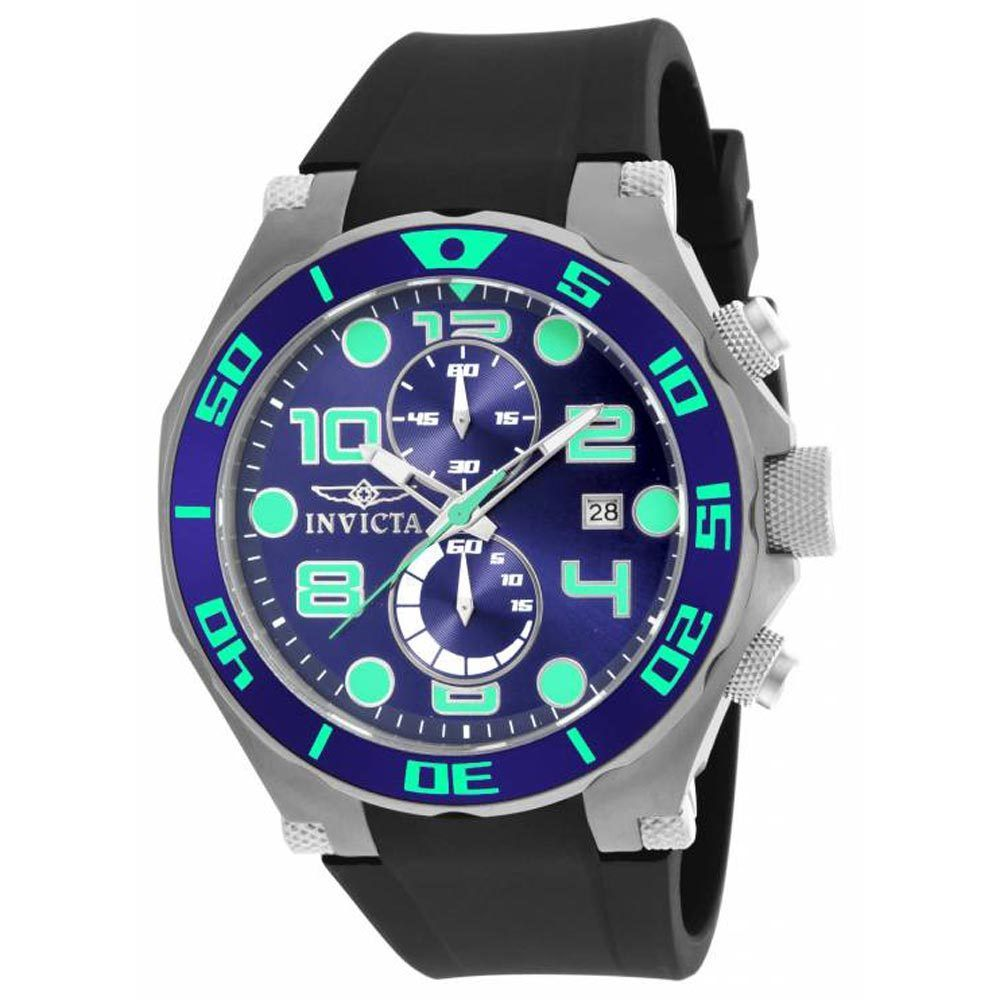 Invicta 17813 Men's Pro Diver Chrono Blue Dial Black Strap Watch - Click Image to Close
